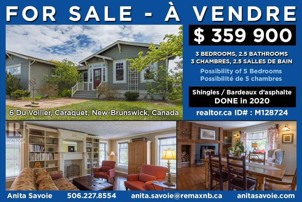 Maison à vendre à Caraquet NB – House for sale in Caraquet NB
