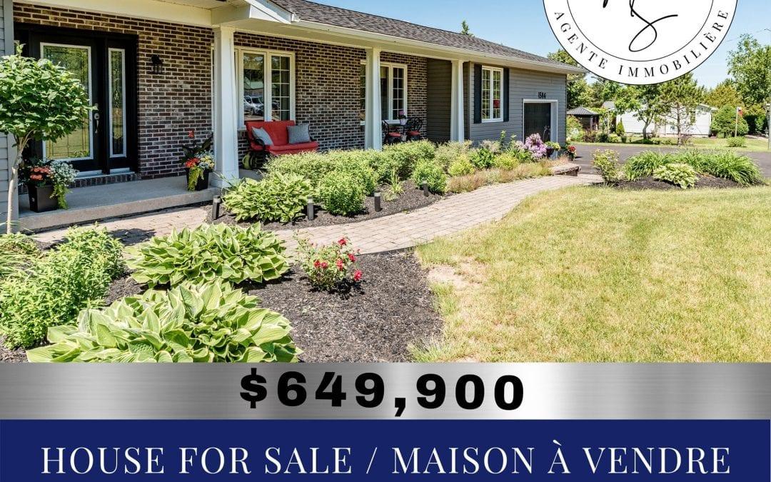 House for sale – Maison à vendre – Moncton NB